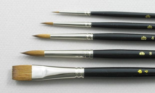 Trinity Brush Introductory Set of 5 Pure Red Sable Art Brushes