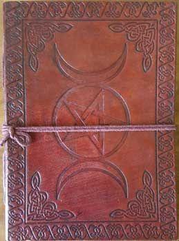 """5"""" X 7"""" Triple Moon Pentagram Leather Blank Book W/cord"""