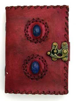 2 Lapis Stones Leather Blank Book W/ Latch