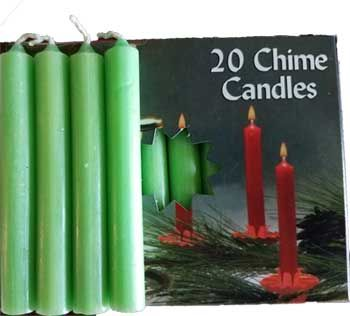"""1/2"""" Apple Green Chime Candle 20 Pack"""