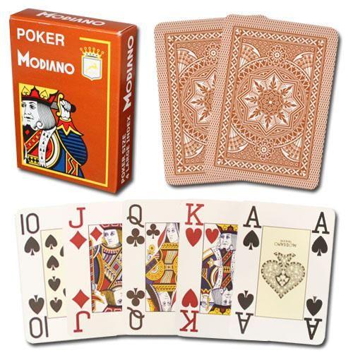 Modiano Cristallo Poker Size, 4 Pip Jumbo Brown