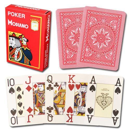 Modiano Cristallo Poker Size, 4 Pip Jumbo Red