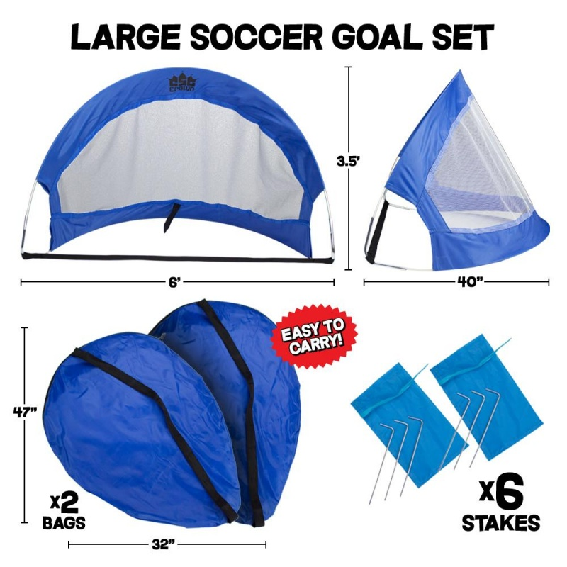 Set Of 2, 6' Pop Up Soccer Goals With 2 Carrying Bag