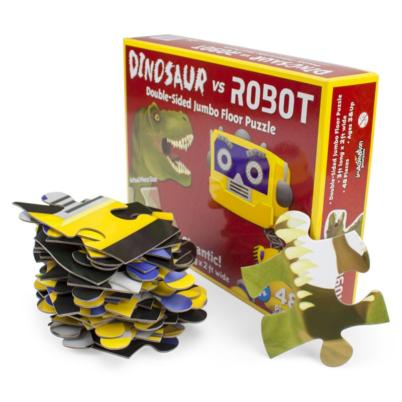 Dinosaur Vs. Robot 48 Piece Double Sided Floor Puzzle - 3 Ft