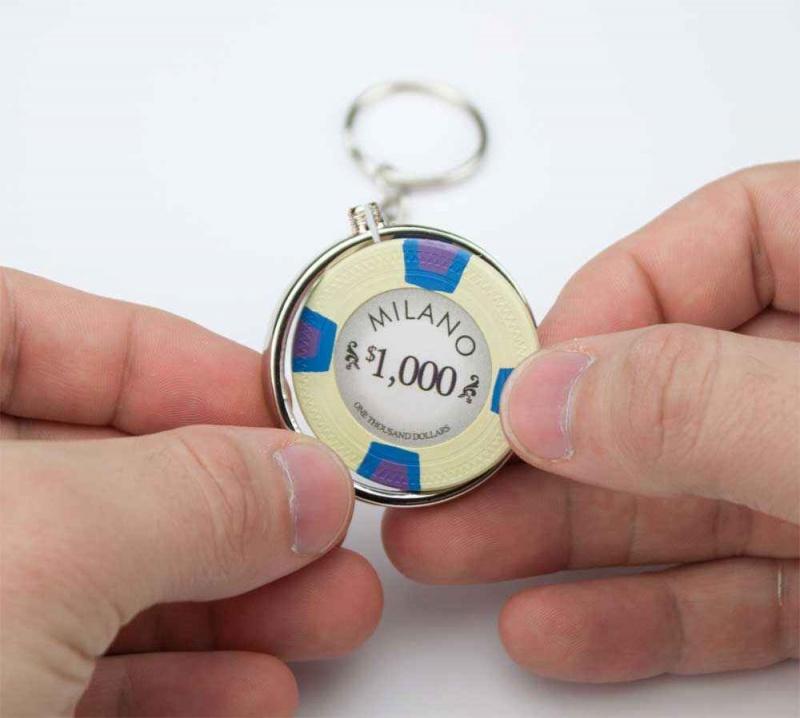 Chrome Plated Poker Chip Holder Key Chain