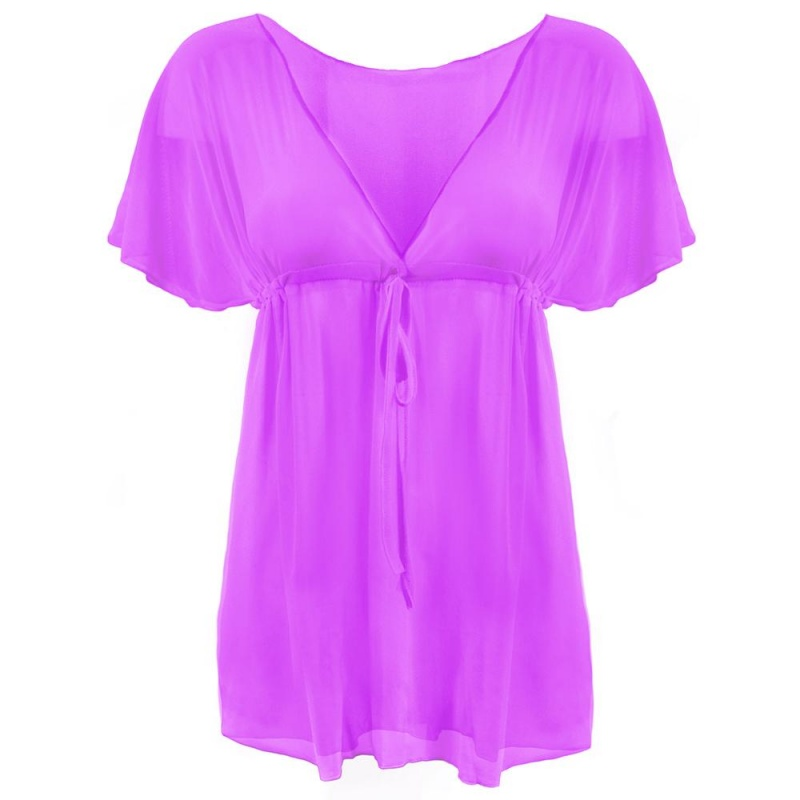 Women's Chic & Sheer Beach Poncho, Purple
