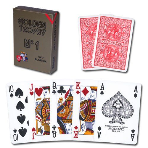 Modiano Golden Trophy Poker Playing Cards - Red