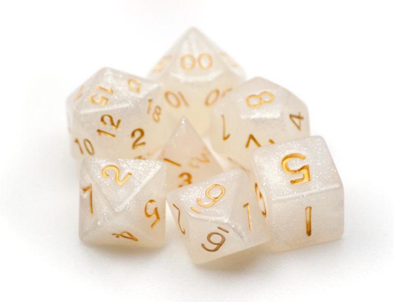 7 Die Polyhedral Dice Set In Velvet Pouch-forbidden Treasure
