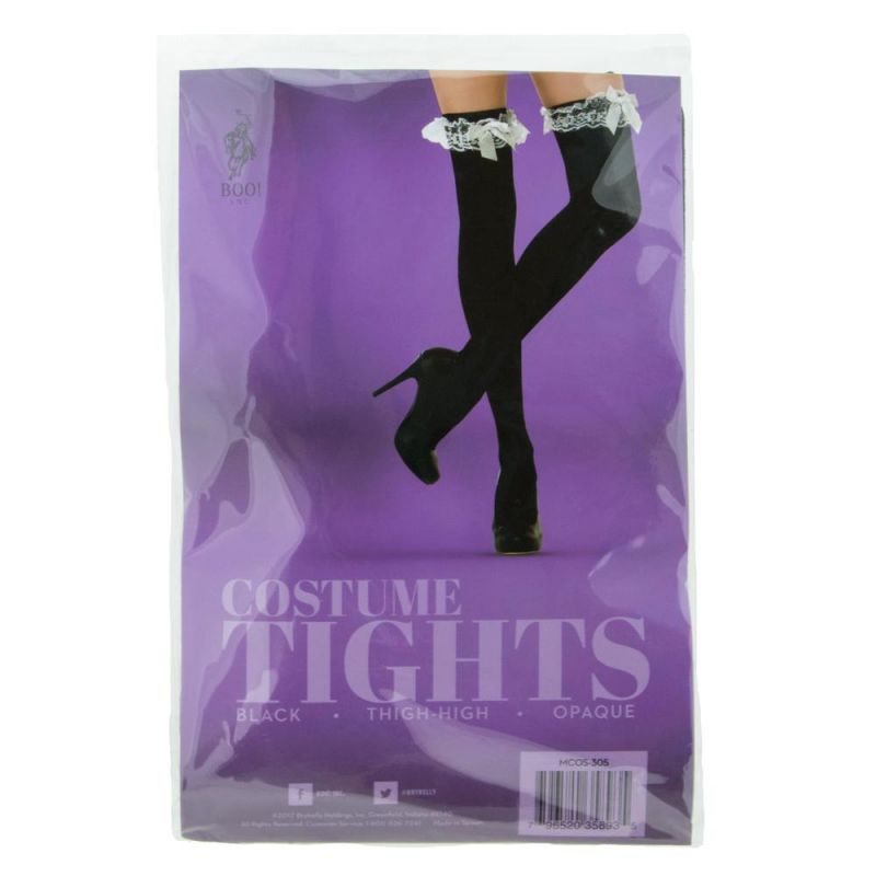 Black With White Ruffle Thigh High Costume Tights