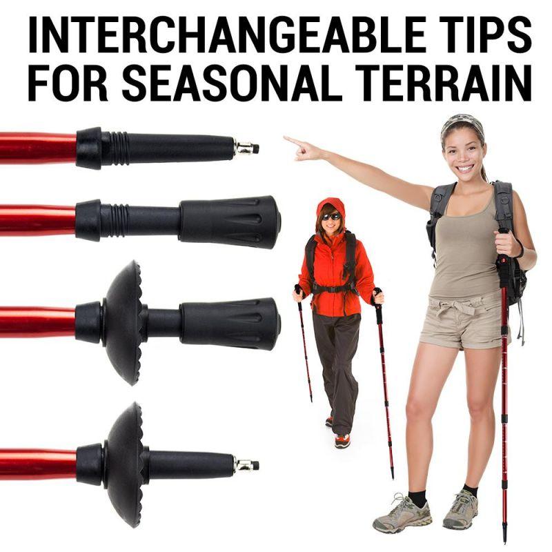 "53"" Black Shock-Resistant Adjustable Trekking Pole"