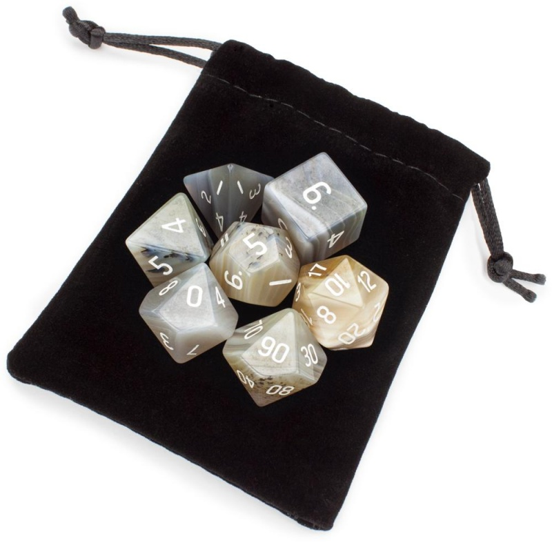 Set Of 7 Handmade Stone Polyhedral Dice, Gray Agate