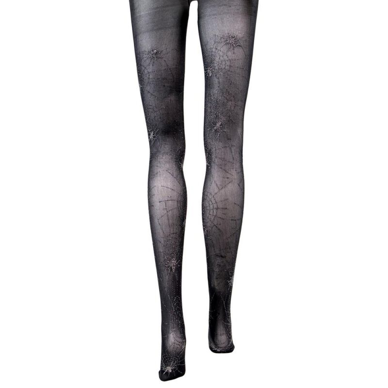 Black Spiderweb Sheer Mid Rise Costume Tights