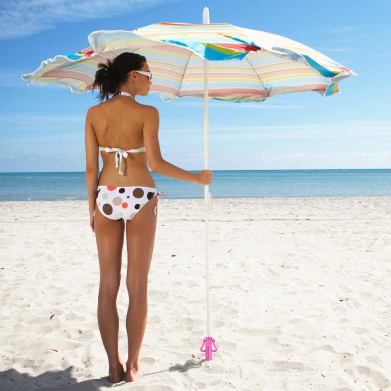 Plastic Beach Umbrella Sand Anchor, Pink