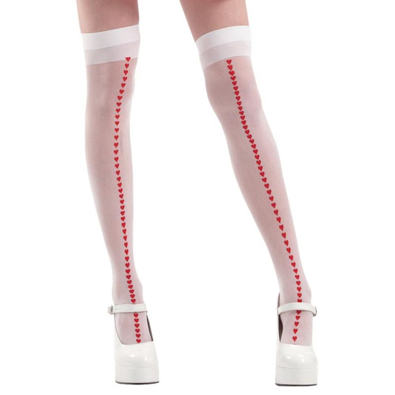 White With Red Hearts Thigh High Costume Tights