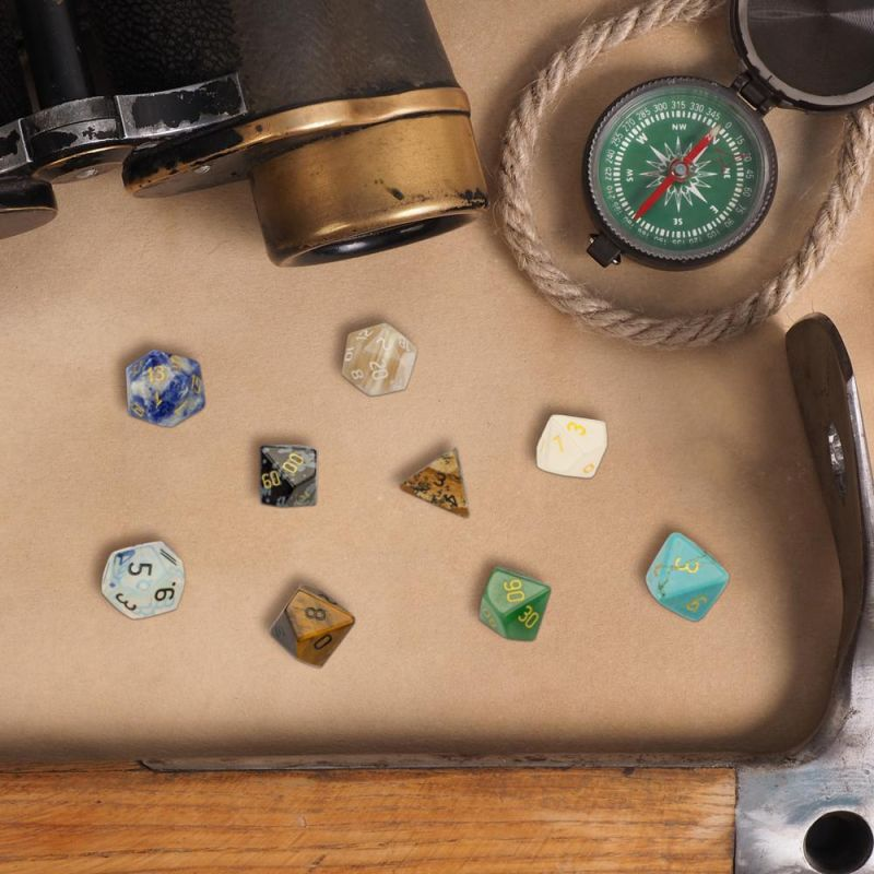 Set Of 7 Handmade Stone Polyhedral Dice, Picture Jasper