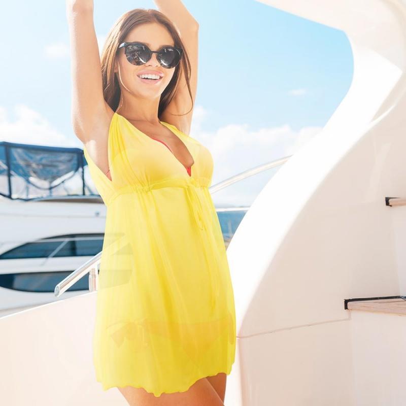 Women's Chic & Sheer Beach Poncho, Yellow