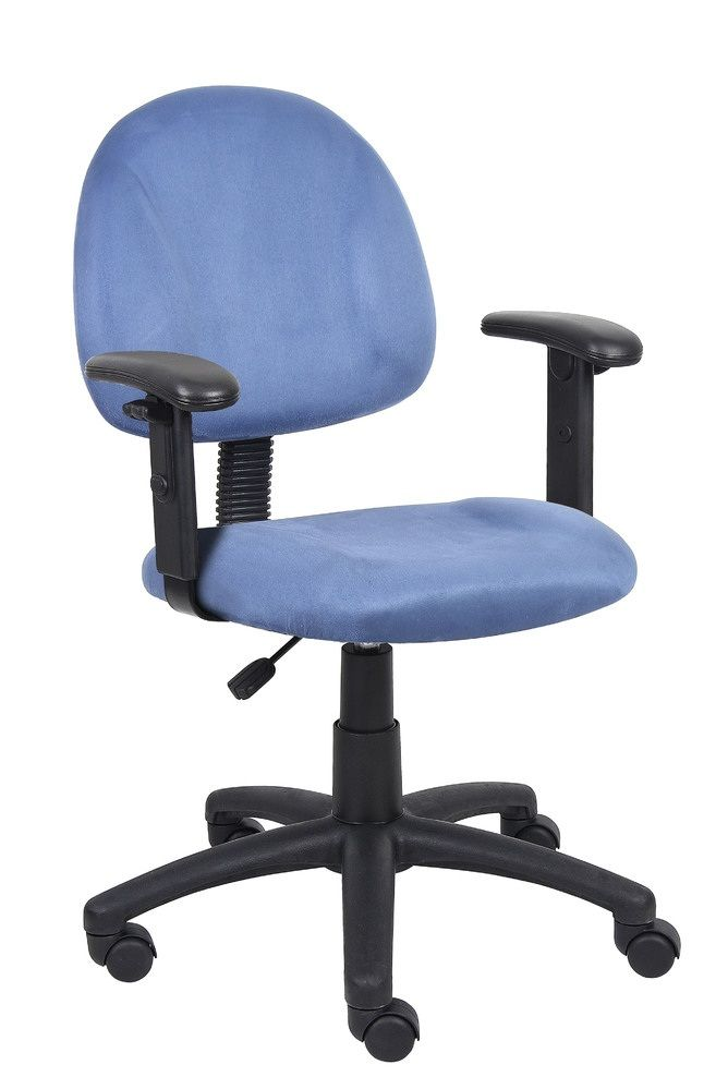 Boss Blue Microfiber Deluxe Posture Chair W/ Adjustable Arms