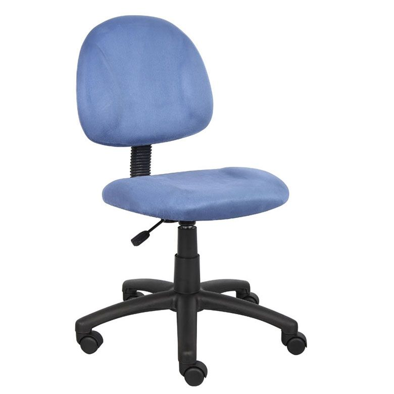 Boss Perfect Posture Deluxe Modern Microfiber Home Office Chair Without Arms, Blue