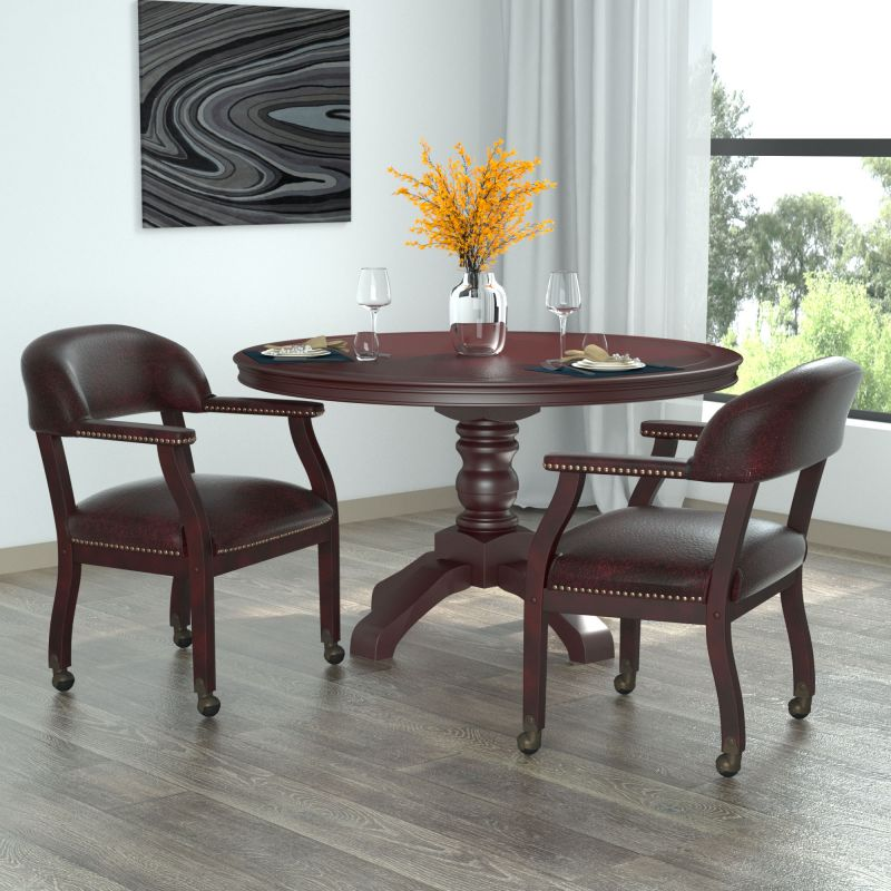 Boss Captain's Guest, Accent Or Dining Chair In Burgundy Vinyl W/ Casters