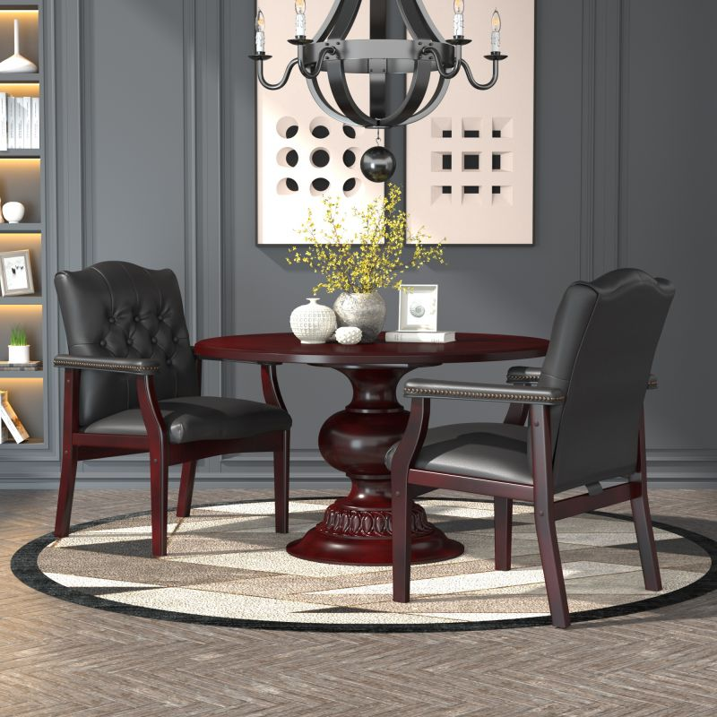 Boss Traditional Black Caressoft Guest, Accent Or Dining Chair W/ Mahogany Finish