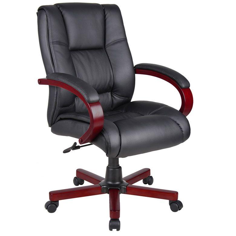 Boss Mid Back Executive Wood Finished Chairs, Mahogany