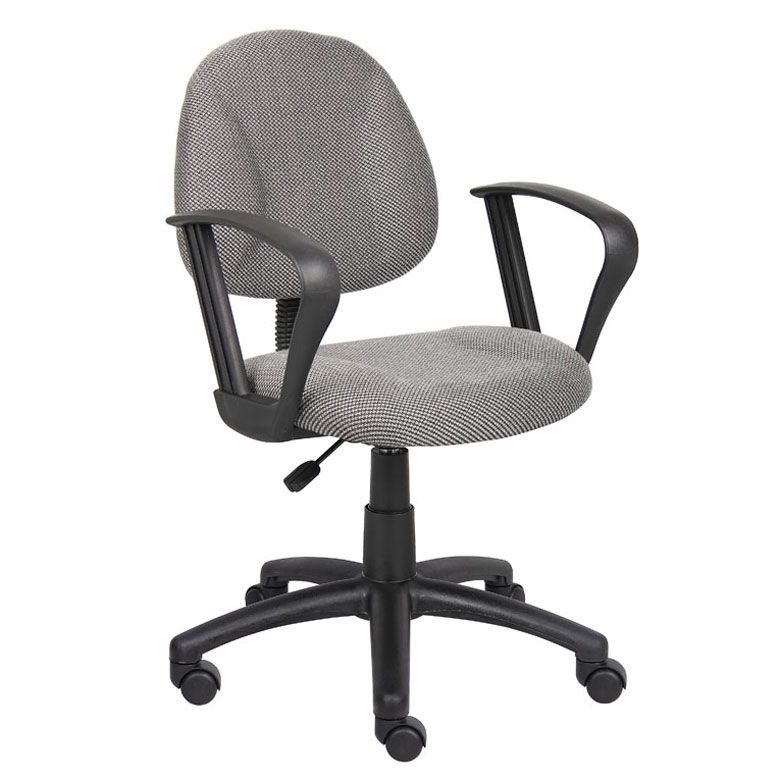 Boss Perfect Posture Deluxe Office Task Chair With Loop Arms, Grey