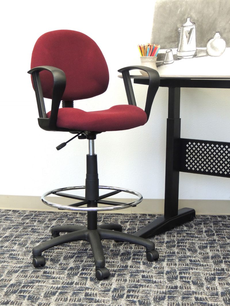 Boss Ergonomic Works Adjustable Drafting Chair With Loop Arms And Removable Foot Rest, Burgundy