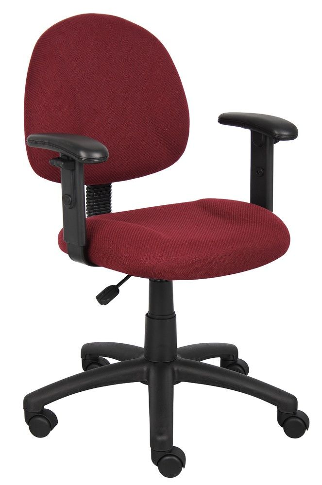Boss Perfect Posture Deluxe Office Task Chair With Adjustable Arms, Burgundy