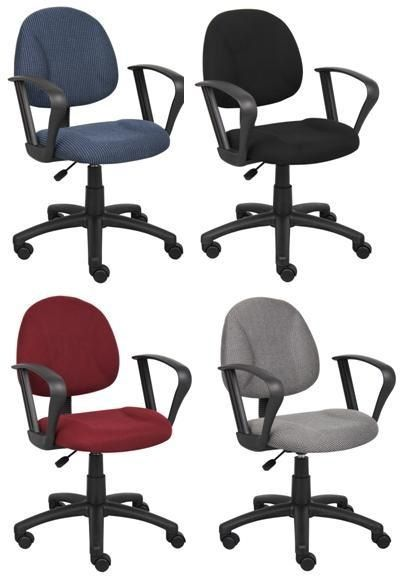 Boss Perfect Posture Deluxe Office Task Chair With Loop Arms, Burgundy