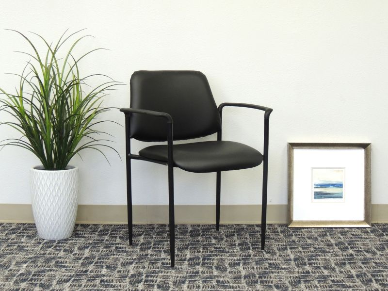 Boss Square Back Diamond Stacking Chair W/arm In Black Caressoft™
