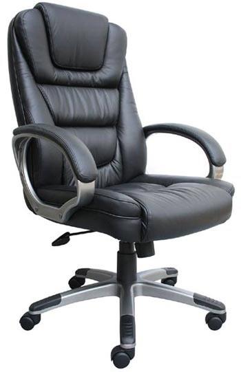 "Boss ""ntr"" Executive Leatherplus Chair, Black With Knee Tilt"