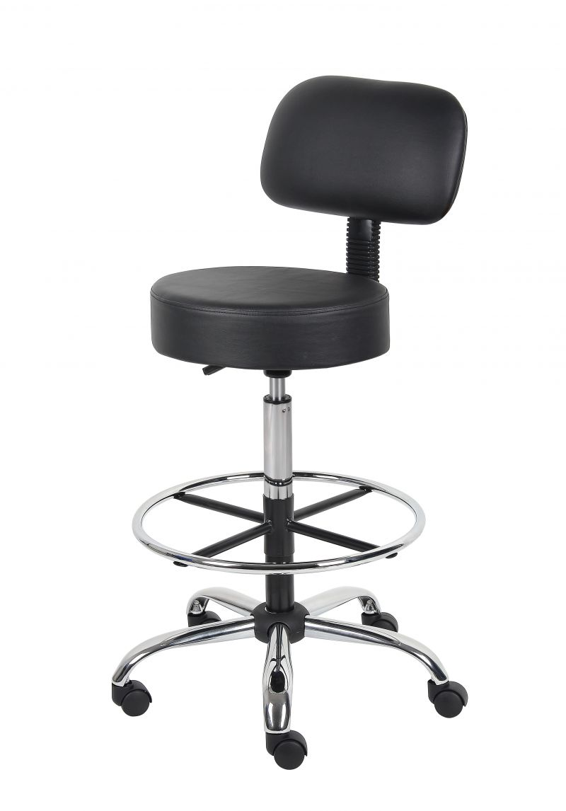 Boss Be Well Medical Spa Professional Adjustable Drafting Stool With Back And Removable Foot Rest Black