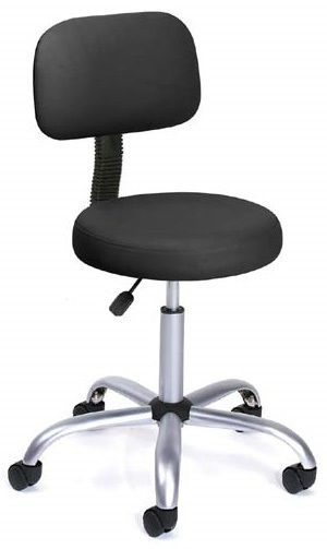Boss Be Well Medical Spa Professional Adjustable Stool With Back, Black