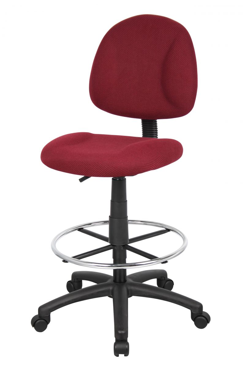 Boss Ergonomic Works Adjustable Drafting Chair Without Arms, Burgundy