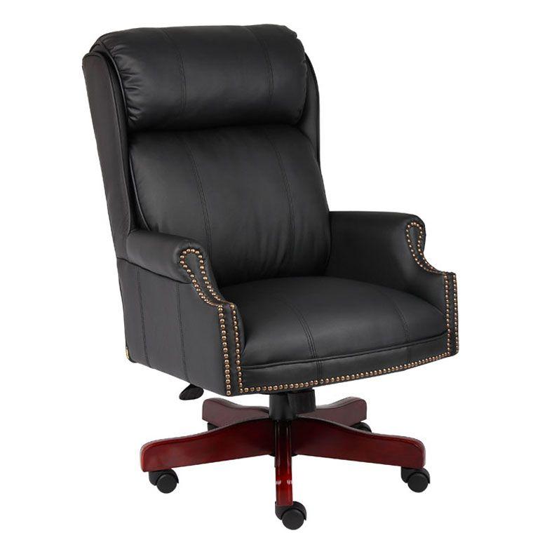Boss Traditional High Back Caressoftplus™ Chair W/mahogany Base