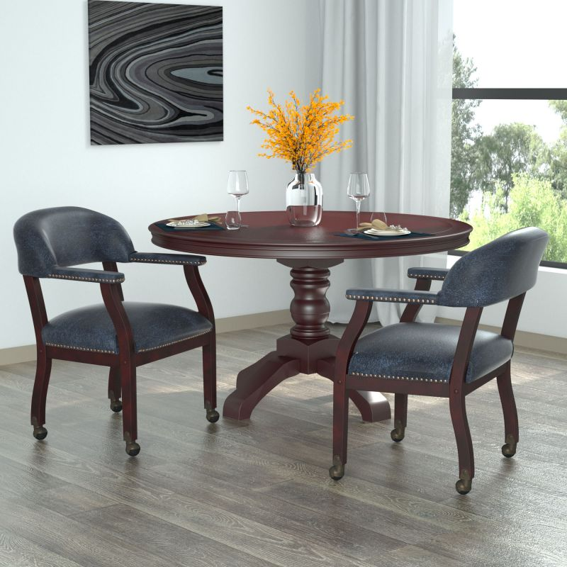 Boss Captain'S Guest, Accent Or Dining Chair In Blue Vinyl W/ Casters