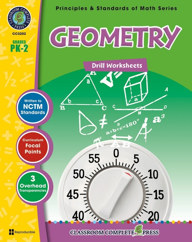 Classroom Complete Regular Edition Book: Geometry - Drill Sheets, Grades PK, K, 1, 2