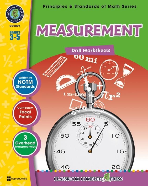 Classroom Complete Regular Edition Book: Measurement - Drill Sheets, Grades 3, 4, 5