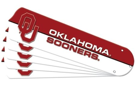 "New Ncaa Oklahoma Sooners 52"" Ceiling Fan Blade Set"