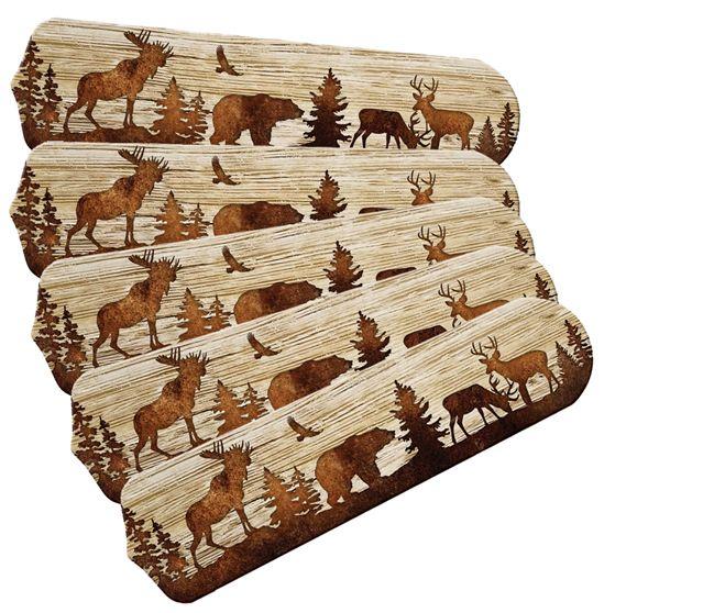 """New Bear Moose Deer Rustic Cabin Lodge Ceiling Fan 52"""""""