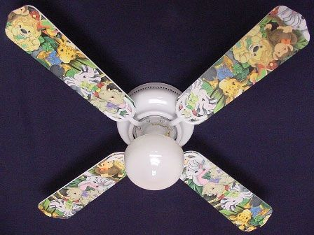 """New Zootles Baby Animals Jungle Ceiling Fan 42"""""""
