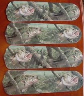 """New Large Mouth Bass Fish 42"""" Ceiling Fan Blades Only"""