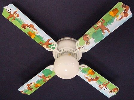 """New Curious George Monkey Ceiling Fan 42"""""""