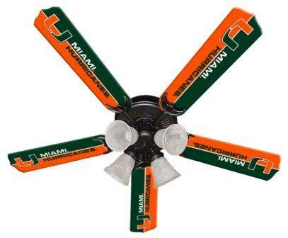 "New Ncaa Miami Hurricanes 52"" Ceiling Fan"
