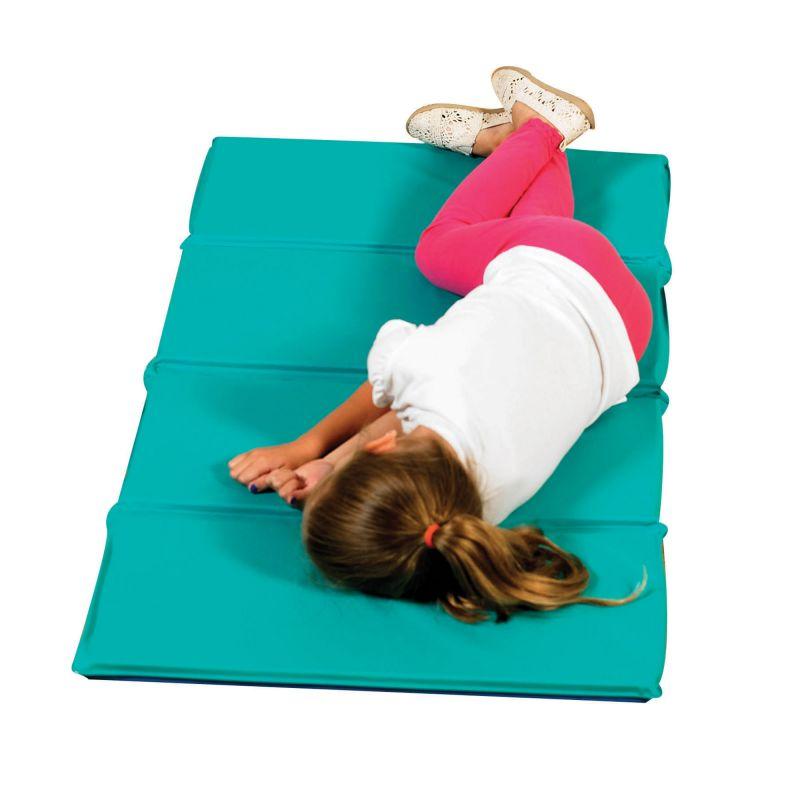 Angels Rest™ Nap Mat 1″ – Teal/Blue 4-Section Folding Mat – 10 Pack