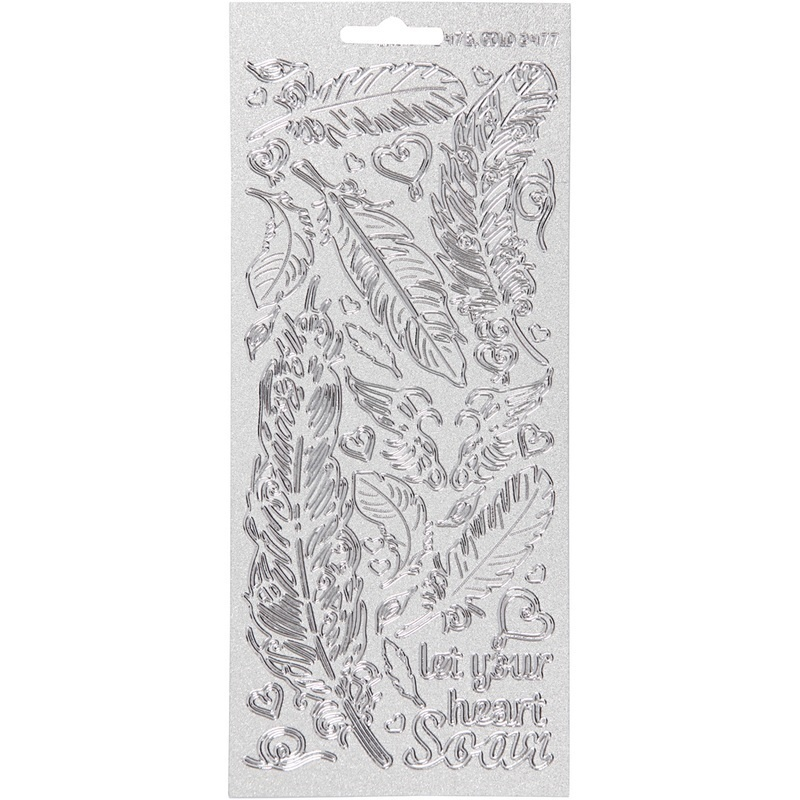 Creativ Company Stickers, Silver, Feathers, 10x23 Cm, 1 Sheet