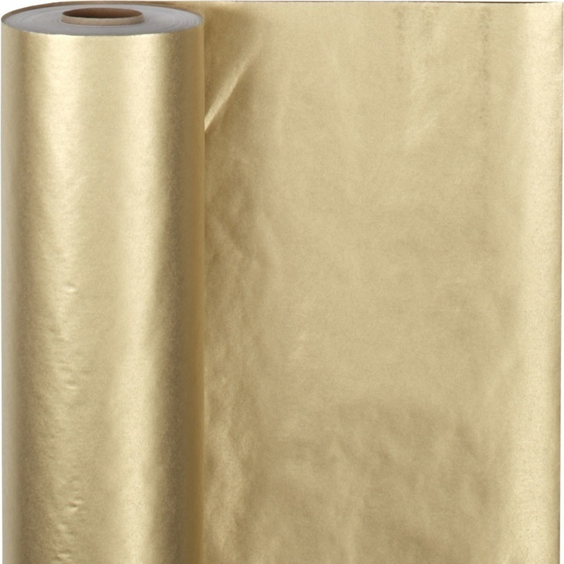 Creativ Company Wrapping Paper, Gold, W: 50 Cm, 60 G, 100 M, 1 Roll