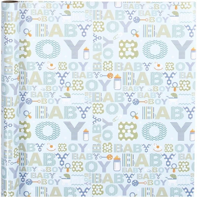 Creativ Company Gift Wrap, Baby Boy, W: 50 Cm, 80 G, 5 M, 1 Roll