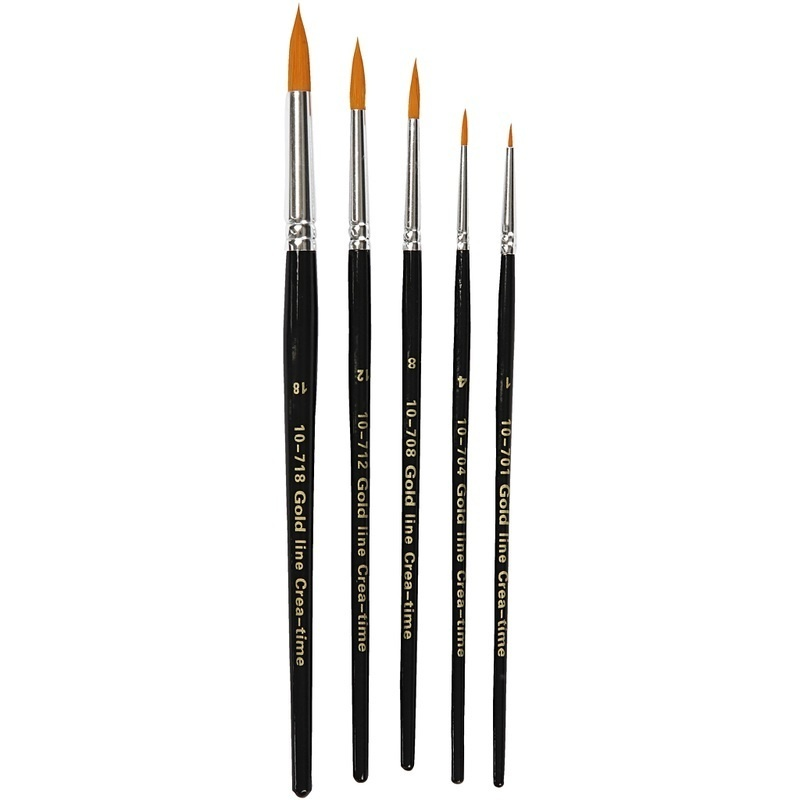 Creativ Company Gold Line Brushes, Round, 1-18, W: 2-7 Mm, 5 Pc