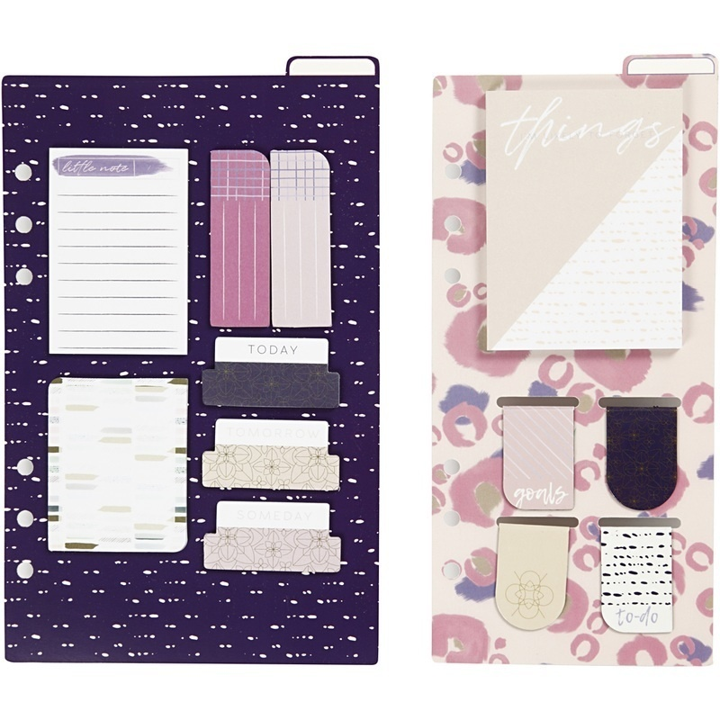 Creativ Company Post-it Assortment And Book Marks, Gold, Purple, Rose, 10,3x22 + 13,8x22 Cm, 2 Sheet, 1 Pack
